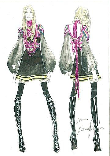Madonna en robe mousseline garnie de rubans multicolores par Riccardo Tisci pour Givenchy Haute Couture