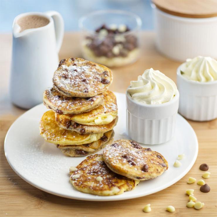 Recette de pancakes aux pépites de chocolat noir et blanc
