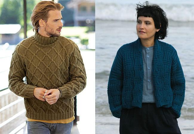 Modèles expliqués gratuits : veste marine pour elle et pull col roulé pour lui à tricoter