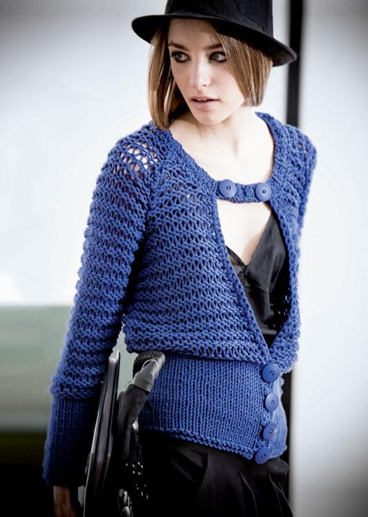 Tricot gratuit expliqué : gilet coton maille XL en jersey et point ajouré à tricoter © Création Phildar.