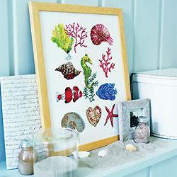 motifs de broderie gratuits : coquillages, poissons et plantes