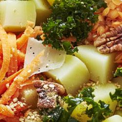 Salade de pommes de terre primeur, chou Kale