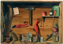 Peinture d'un établi-étagère en trompe-l'oeil