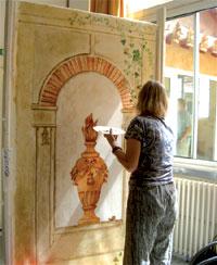 Peinture d'une niche en trompe-l'oeil
