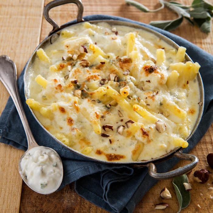 Recette all'italiana : Macaroni gratinés (gratin de pâtes) au Gorgonzola et au Mascarpone.
