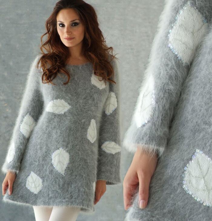 Tricot gratuit expliqué : Pull tunique en angora au point jersey à motifs à tricoter © Création Anny Blatt.