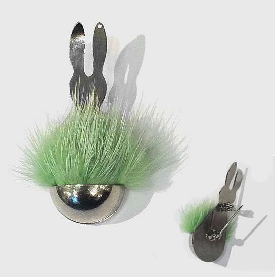 Cadeau thème NATURE - La broche 'Lapin vert' Anagold.