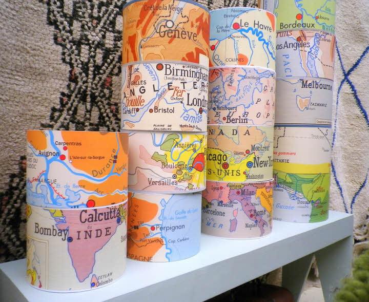 Cadeau thème 'MONDE' - Abat-jour carte du monde.