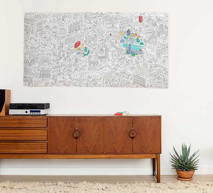 Cadeau thème 'MONDE' - Poster New York à colorier OMY.
