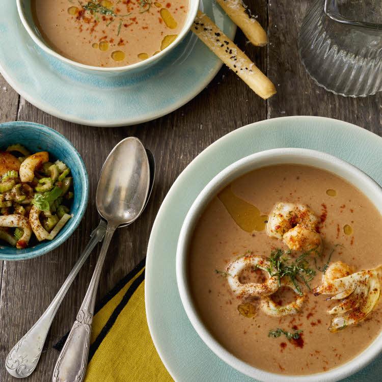 Recette du chef Chef Eric Reithler : soupe de rouget aux crevettes et encornets.