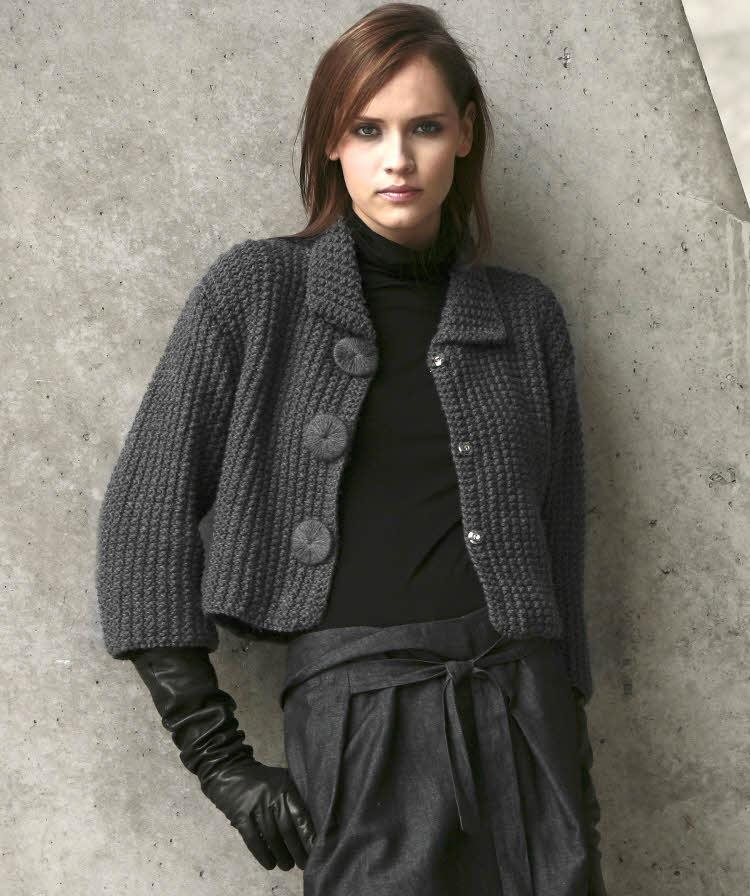 Modèle gratuit expliqué : veste paletot pour femme à tricoter © Création Phildar.