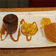 recette Farandole des desserts (riz au lait, tuile orange et soufflé au chocolat)