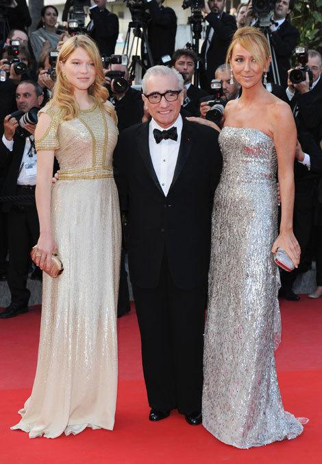 Martin Scorsese entouré de Léa Seydoux et Frida Giannini au Festival de Cannes 2010