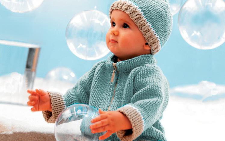 Tricot expliqués : gilet zippé et bonnet pour bébé © Phildar.
