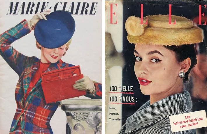 Couvertures du n°81 de Marie-Claire (1937) et du Elle d'octobre 1955.