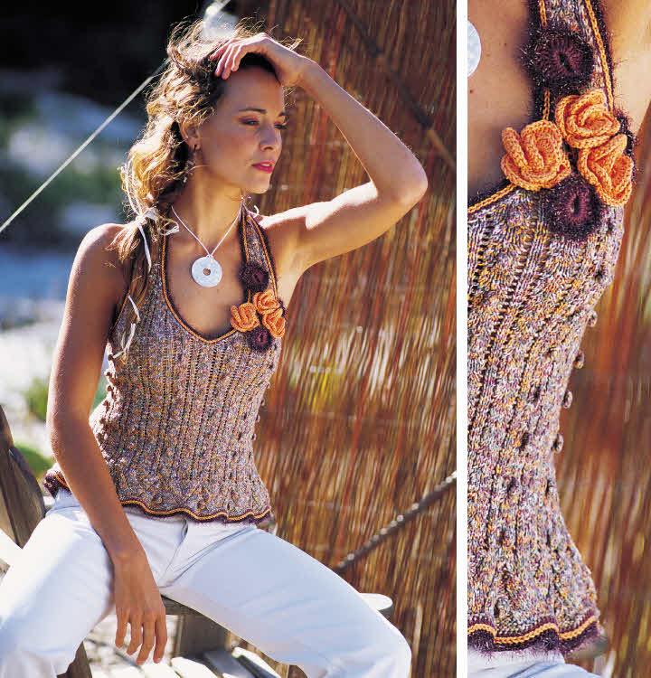 Modèle gratuit : top dos-nu à basque et bretelles à tricoter.