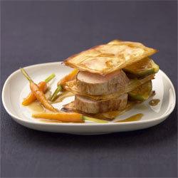 Pastilla de mignon de veau rôti aux figues et ses carottes au jus