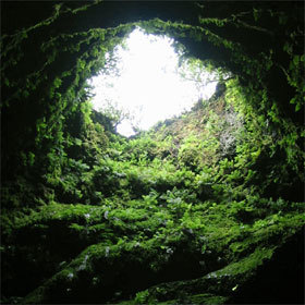 Cône volcanique d'Algar do Carvão, à Faial, Açores.