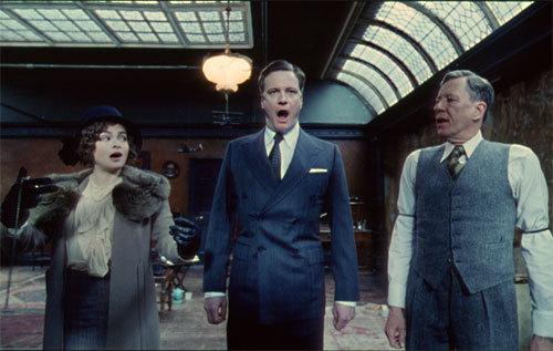 Colin Firth, Helena Bonham Carter et Geoffrey Rush dans 'Le Discours d'un Roi'