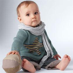 pull layette pour bébé à motif étoilé - Explications gratuites