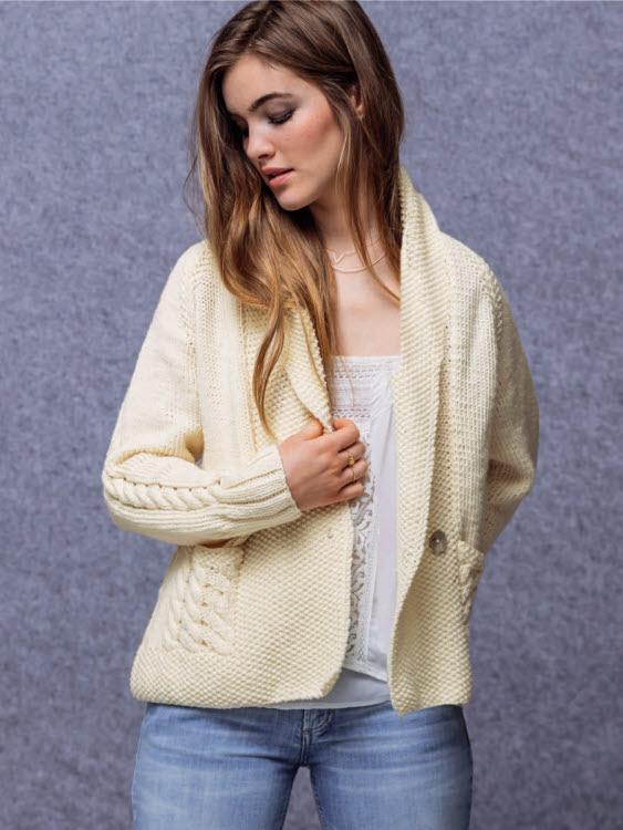 Modèle expliqué : gilet-veste à col châle © Phildar.