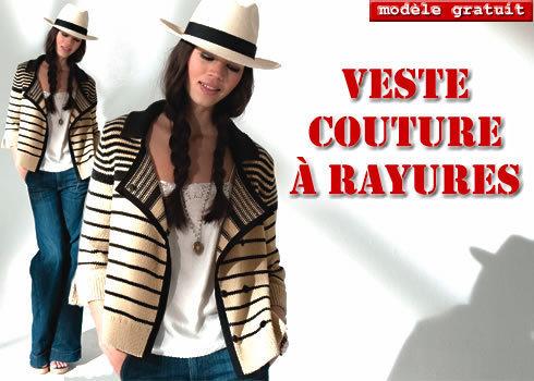 veste couture à rayures marines - explications gratuites sur ABCfeminin.com