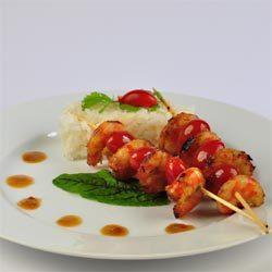 recette : brochettes de crevettes marinées au sirop d'agave