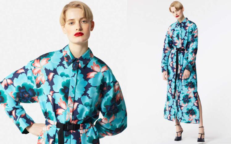 Robe chemise en soie - Création KENZO automne-hiver 2018/19.L'actrice Anne Hathaway habillée de soie haute couture par la Maison Givenchy (Janvier 2019).