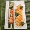 recette du Chef Christian Bidard, Brochette de saumon, légumes au wok et rougail de tomate au lait de coco  © Gérald Gambier