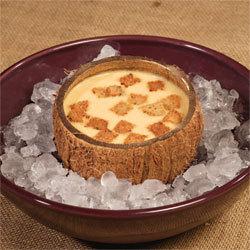 recette Soupe de carotte glacée à la crème de coco, petits croutons à l'huile d'ail © Gérald Gambier