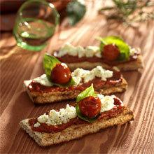 Recette snacking : bruschetta à la verdurine et au caillé de brebis