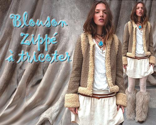 blouson zippé à tricoter - explications gratuites - création Phildar