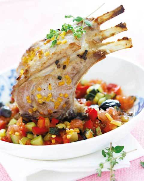 zoom carré d'agneau rôti à la fleur de sel et pamplemousse, légumes croquants au miel de thym