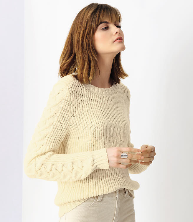 Modèle gratuit : pull en côtes perlées à tricoter en laire 100% mérinos © PHILDAR.