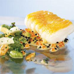recette : dos de cabillaud de Norvège doré, gnocchis aux herbes et sauce Ponzu © Centre des Produits de la Mer de Norvège