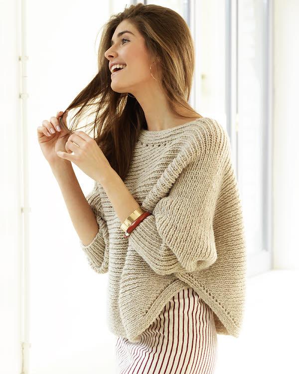 Modèle gratuit : pull manches chauve-souris à tricoter en côtes 1/1 © PLASSARD.