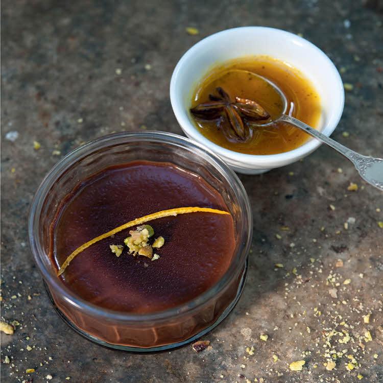 Recette énergie : crème poivrée au chocolat parfumée à l'orange.