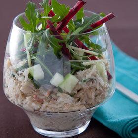 recette verrine de chair de crabe sauce au citron gingembre, salade croquante betterave et pommes acidulées