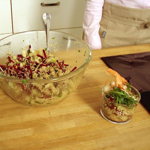 Salade croquante et acidulée pommes, betterave et quinoa