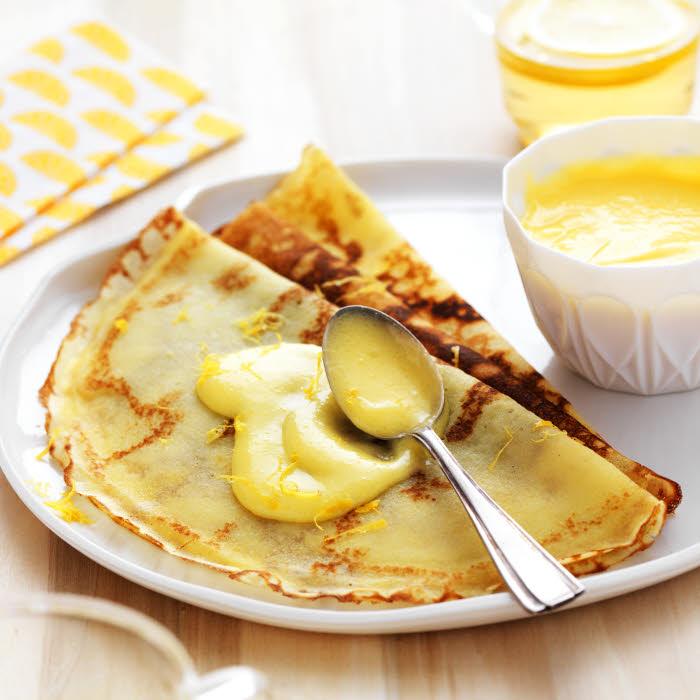 Crêpes sans gluten à la crème citron.