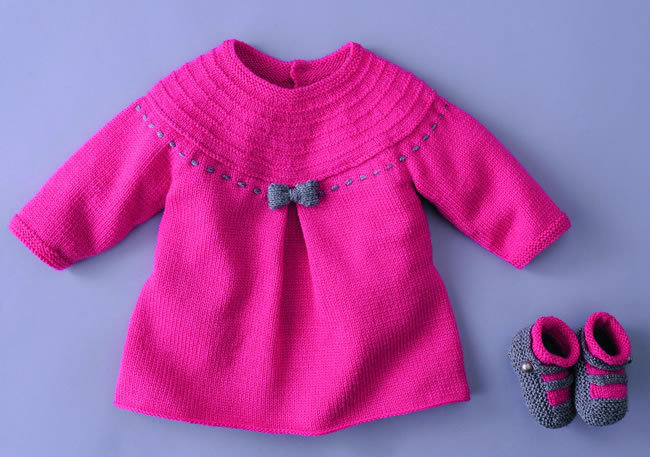 tricoter une robe layette