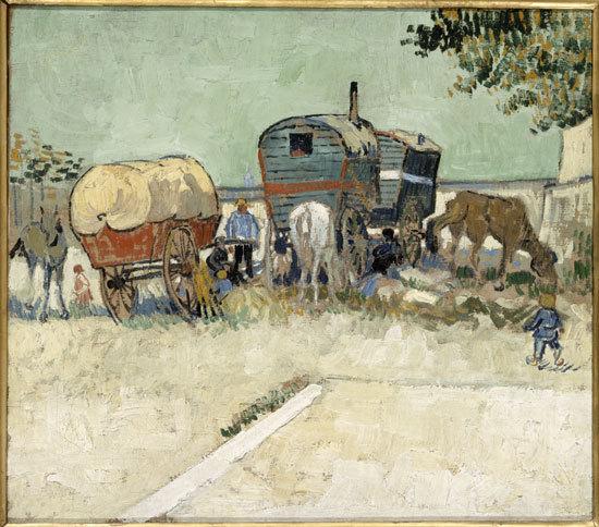 Photo : Les Roulottes, campement de bohémiens aux environs d'Arles (1888), Vincent van Gogh. Paris, musée d'Orsay