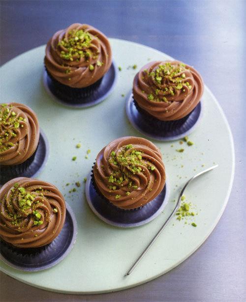 Zoom recettre cupcakes pistaches et pépites de chocolat