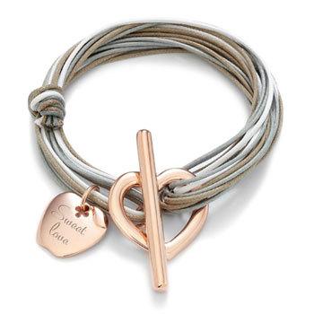Bracelet personnalisé Lilou, pomme gravée et fermoir coeur plaqués or rose