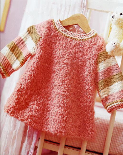 Robe layette à tricoter - Explications gratuites sur ABCfeminin.com.