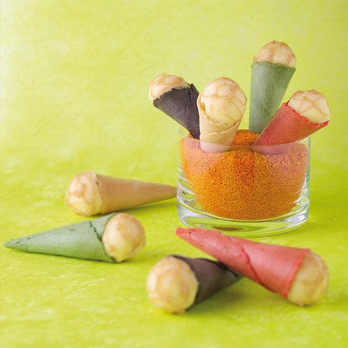 Zoom recette petits cônes multicolores aux saveurs de Vacherin Fribourgeois AOC