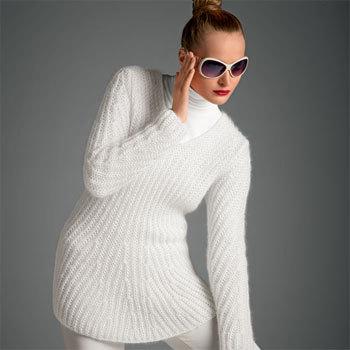 pull-tunique blanc en côtes fantaisie - modèle gratuit - création Bergère de France