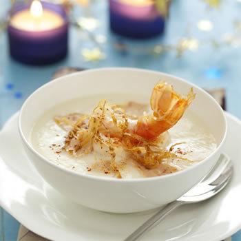 Menu gourmand : pintade,langoustines et croquant aux amandes