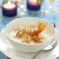 recette velouté de chou-fleur aux langoustines et foie gras croquant de sésame