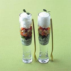 recette verrines de tartare de saumon et épinards